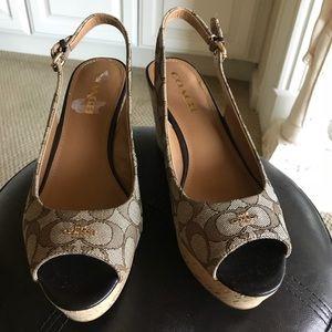 Coach Khaki / Chestnut Slingback Wedge Sandals